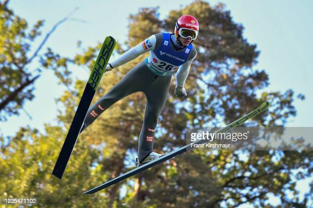 Philipp Aschenwald of Austria competes during the FIS Grand Prix Skijumping Hinzenbach at on February 6, 2021 in Eferding, Austria.