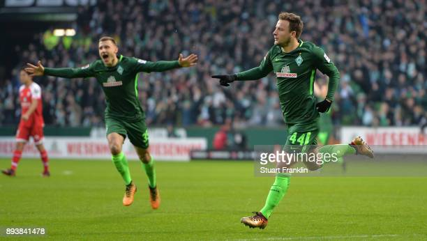 Philipp Bargfrede of Bremen celebrates scoring the first goal during the Bundesliga match between SV Werder Bremen and 1 FSV Mainz 05 at Weserstadion...