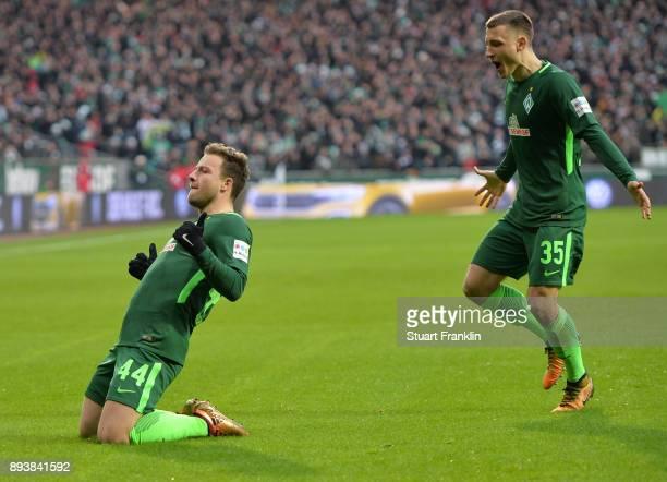 Philipp Bargfrede of Bremen celebrates scoring the first goal during the Bundesliga match between SV Werder Bremen and 1 FSV Mainz 05 at Weserstadion...