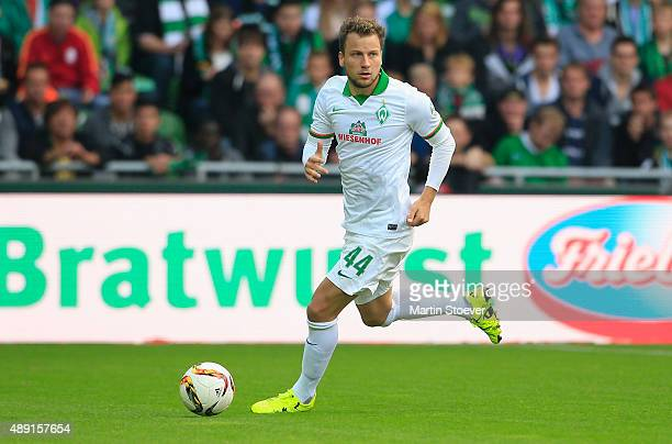 Philipp Bargfrede of Bremen plays the ball during the Bundesliga match between Werder Bremen and FC Ingolstadt at Weserstadion on September 19 2015...