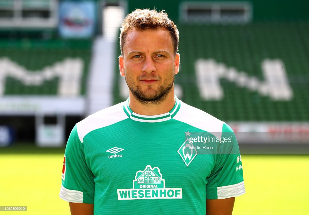 Philipp Bargfrede of Werder Bremen poses during the team