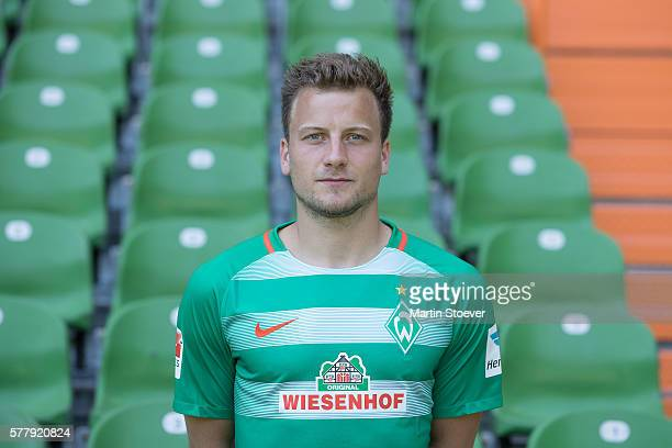 Philipp Bargfrede poses during the offical team presentation of Werder Bremen on July 20 2016 in Bremen Germany