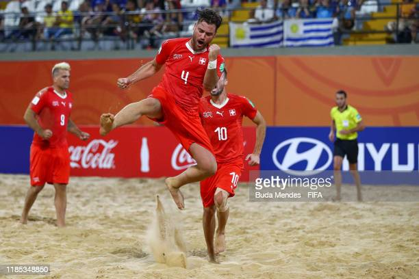 Philipp Borer of Switzerland celebrates a goal during the FIFA Beach Soccer World Cup Paraguay 2019 quarter final match between Italy and Switzerland...