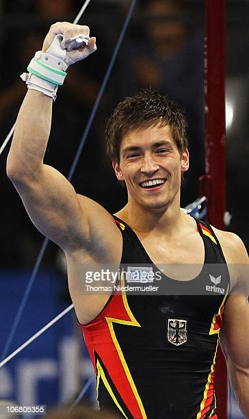 Philipp Boy of Germany celebrates after his competition at the high bar during the EnBW Gymnastics Worldcup 2010 at the Porsche Arena on November 13...