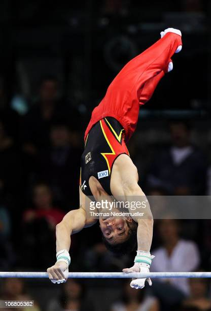 Philipp Boy of Germany competes at the high bar during the EnBW Gymnastics Worldcup 2010 at the Porsche Arena on November 13 2010 in Stuttgart Germany