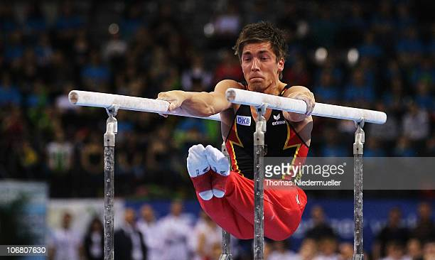 Philipp Boy of Germany performes at the parallel bars during the EnBW Gymnastics Worldcup 2010 at the Porsche Arena on November 13 2010 in Stuttgart...