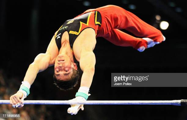 Philipp Boy of Germany performs on the High Bar during the European Championships Artistic Gymnastics Men's All-Around Final at Max-Schmeling Hall on...