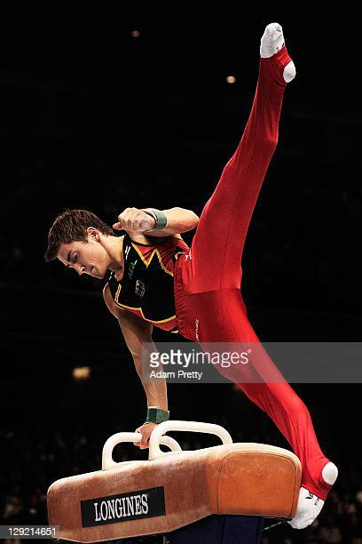 Philipp Boy of Germany performs on the Pommel Horse aparatus in the Men's All Around Final during day eight of the Artistic Gymnastics World...