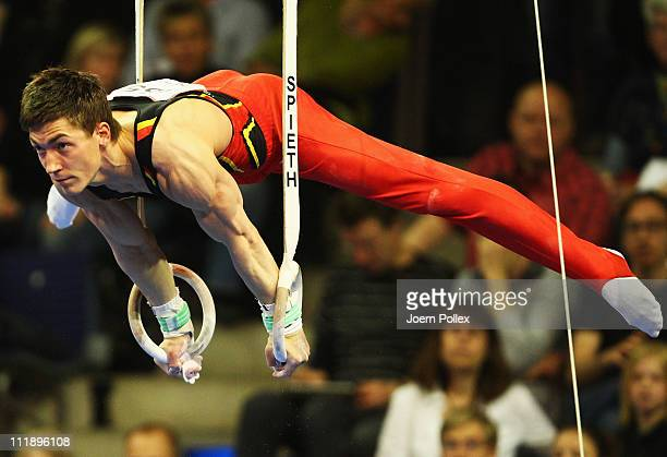 Philipp Boy of Germany performs on the rings during the European Championships Artistic Gymnastics Men's All-Around Final at Max-Schmeling Hall on...
