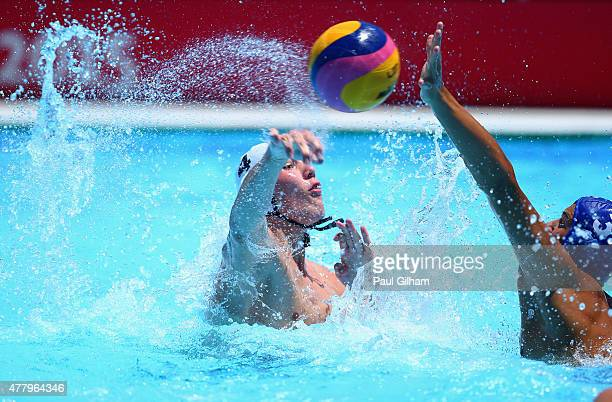 Philipp Dolff of Germany fires a shot at the goal in the Men's Classification 7th8th Place Match during day nine of the Baku 2015 European Games at...