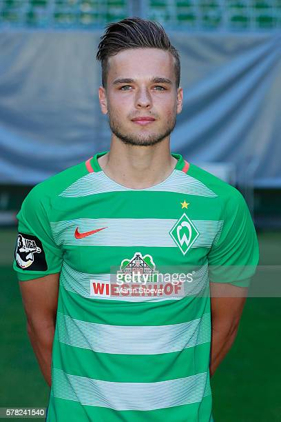Philipp Eggersgluess poses during the offical team presentation of Werder Bremen II on July 20 2016 in Bremen Germany