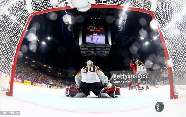 Philipp Grubauer goaltender of Germany receives the 2nd goal during the 2017 IIHF Ice Hockey World Championship quarter final game between Canada and...