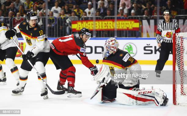 Philipp Grubauer of Germany saves an attempt at goal from Brayden Point of Canada during the 2017 IIHF Ice Hockey World Championship Quarter Final...