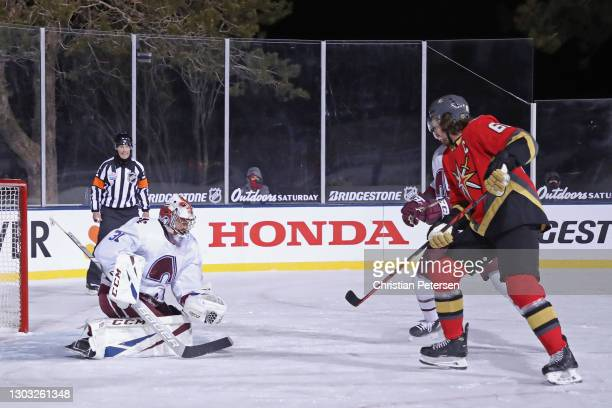 Philipp Grubauer of the Colorado Avalanche makes the save as Max Pacioretty of the Vegas Golden Knights looks for the rebound during the second...