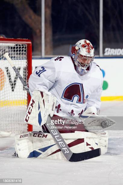 Philipp Grubauer of the Colorado Avalanche makes the second period save against the Vegas Golden Knights during the NHL Outdoors at Lake Tahoe at the...