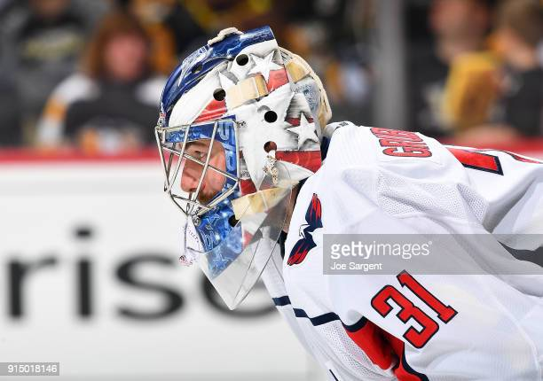 Philipp Grubauer of the Washington Capitals defends the net against the Pittsburgh Penguins at PPG Paints Arena on February 2 2018 in Pittsburgh...
