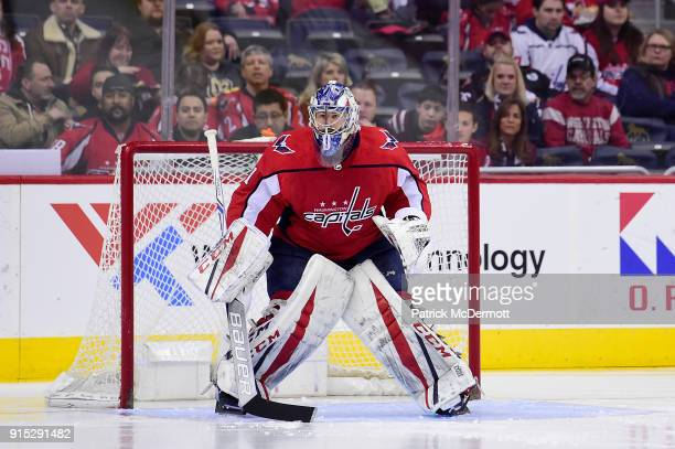 Philipp Grubauer of the Washington Capitals in action against the Vegas Golden Knights in the first period at Capital One Arena on February 4 2018 in...