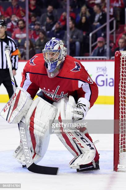 Philipp Grubauer of the Washington Capitals in action in the second period against the Nashville Predators at Capital One Arena on April 5 2018 in...