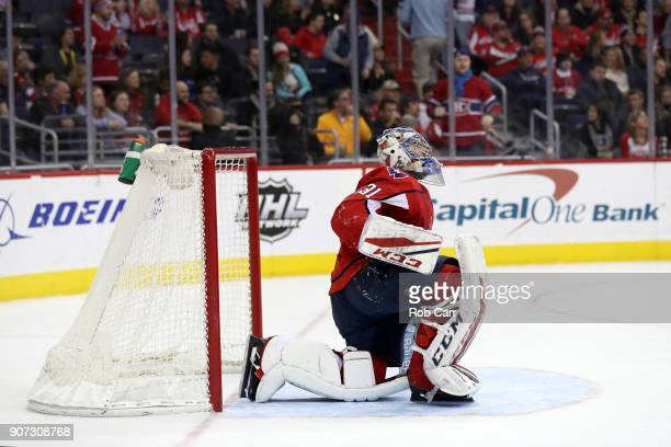 Philipp Grubauer of the Washington Capitals looks on after giving up a third period goal against the Montreal Canadiens at Capital One Arena on...