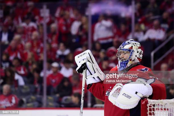 Philipp Grubauer of the Washington Capitals looks on in the second period against the Columbus Blue Jackets in Game Two of the Eastern Conference...