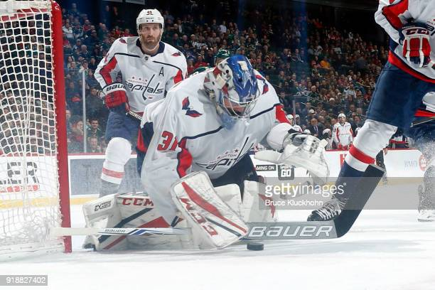 Philipp Grubauer of the Washington Capitals makes a save against the Minnesota Wild during the game at the Xcel Energy Center on February 15 2018 in...