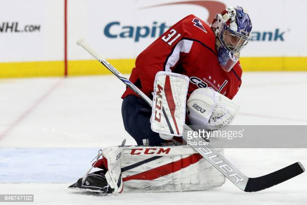 Philipp Grubauer of the Washington Capitals makes a save against the Columbus Blue Jackets during Game Two of the Eastern Conference First Round...