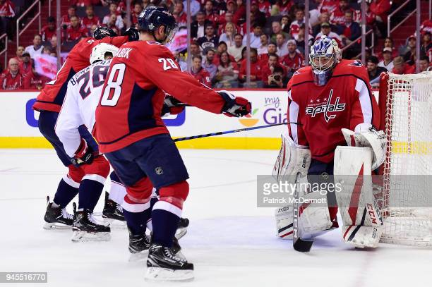 Philipp Grubauer of the Washington Capitals makes a save in the second period against the Columbus Blue Jackets in Game One of the Eastern Conference...