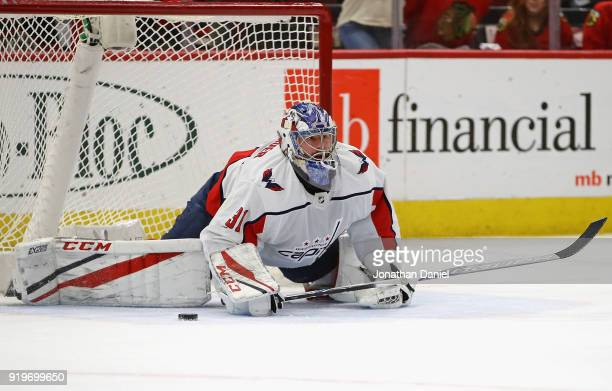 Philipp Grubauer of the Washington Capitals stops a shot in the third period against the Chicago Blackhawks at the United Center on February 17 2018...