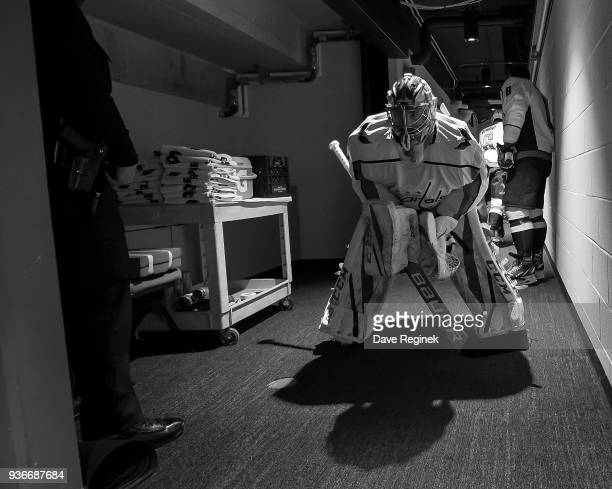 Philipp Grubauer of the Washington Capitals waits in the hall leading to the ice prior to warmups before an NHL game against the Detroit Red Wings at...