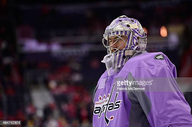 Philipp Grubauer of the Washington Capitals warms up prior to the start an NHL game between the Pittsburgh Penguins and the Washington Capitals...