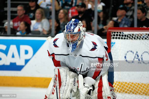 Philipp Grubauer of the Washington Capitols looks on during a NHL game against the San Jose Sharks at SAP Center on March 10 2018 in San Jose...