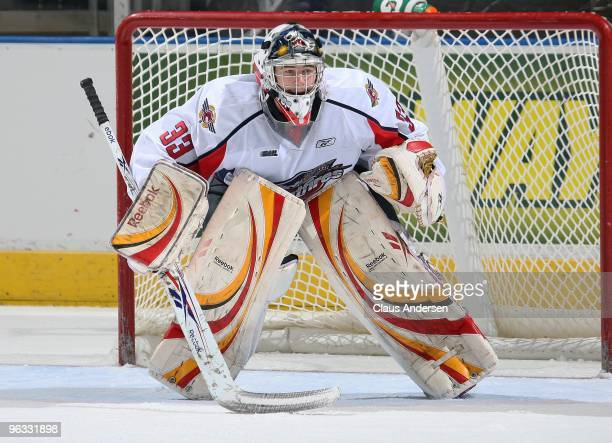 Philipp Grubauer of the Windsor Spitfires watches the play in a game against the London Knights on January 29 2010 at the John Labatt Centre in...