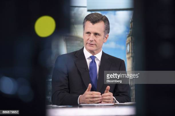 Philipp Hildebrand vice chairman of Blackrock Inc gestures as he speaks during a Bloomberg Television interview in London UK on Wednesday Dec 6 2017...