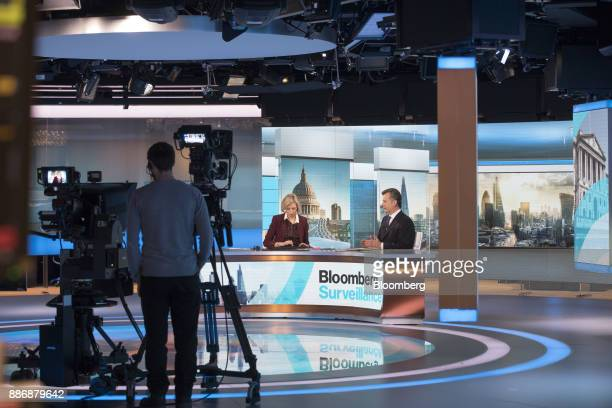 Philipp Hildebrand vice chairman of Blackrock Inc right speaks during a Bloomberg Television interview with Francine Lacqua anchor for Bloomberg...