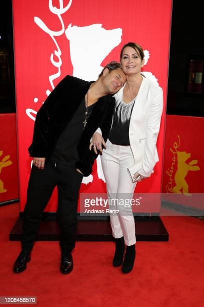 "Philipp Hochmair and Anja Kling attend the Netflix premiere of ""Freud"" during the 70th Berlinale International Film Festival Berlin at Zoo Palast on..."