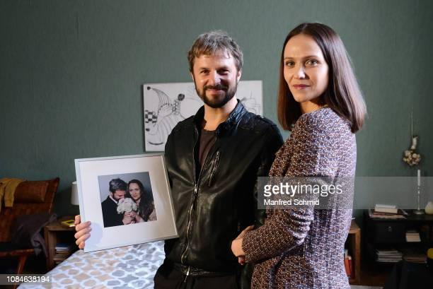 Philipp Hochmair and Larissa Fuchs pose during a photo call on set for 'Glueck gehabt' on January 18, 2019 in Vienna, Austria.
