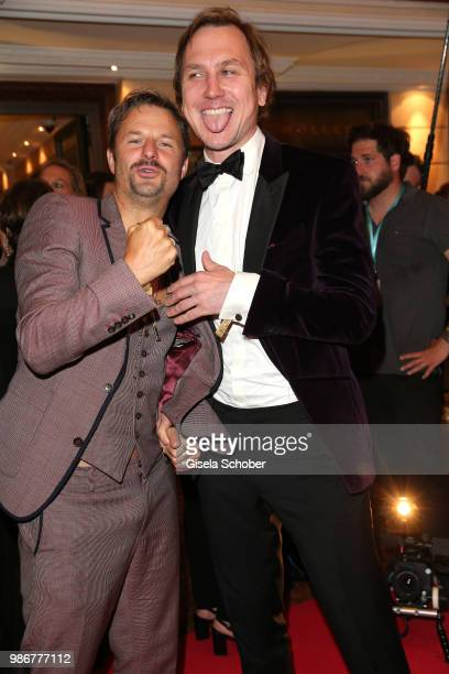Philipp Hochmair and Lars Eidinger during the opening night of the Munich Film Festival 2018 reception at Hotel Bayerischer Hof on June 28 2018 in...