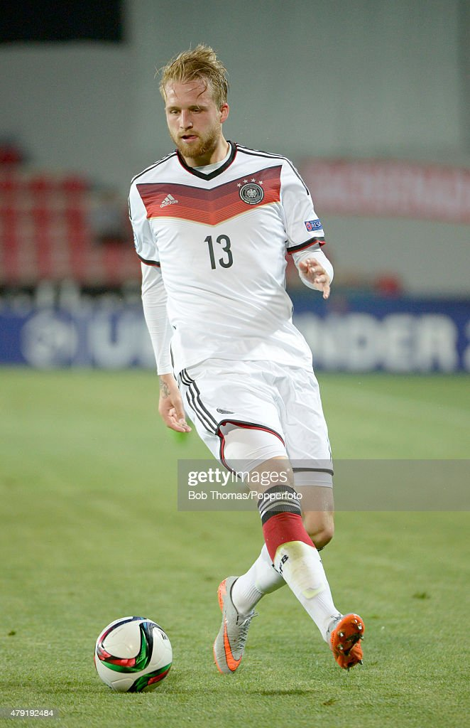 Philipp Hofmann in action for Germany during the UEFA European Under-21 Group A match between Germany and Serbia at Letna Stadium on June 17, 2015 in Prague, Czech Republic. The match was drawn 1-1. (Photo by Bob Thomas/Popperfoto/Getty Images).