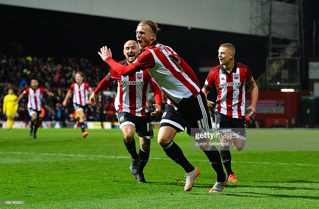 Philipp Hofmann of Brentford celebrates scoring the winning goal during the Sky Bet Championship match between Brentford and Nottingham Forest at Griffin Park on November 21, 2015 in Brentford, United Kingdom.