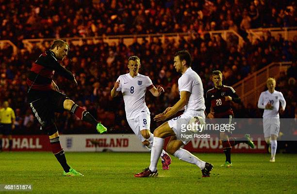 Philipp Hofmann of Germany scores the opening goal during the international friendly between England Under 21 and Germany Under 21 at Riverside...