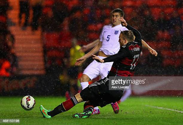 Philipp Hofmann of Germany scores their second goal during the international friendly between England Under 21 and Germany Under 21 at Riverside...