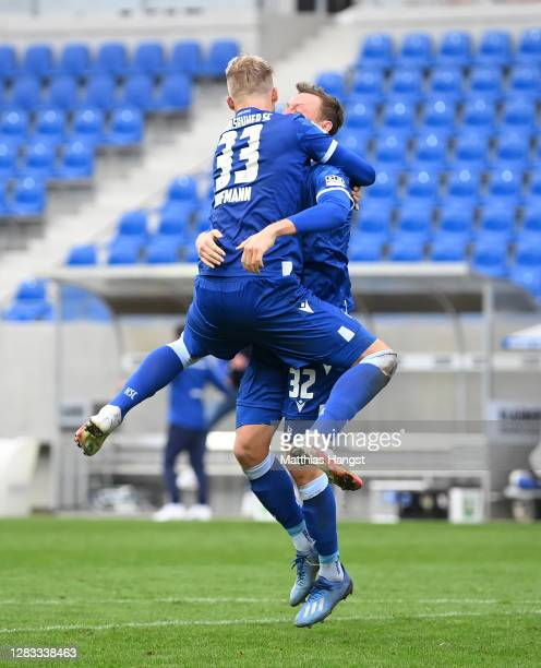 Philipp Hofmann of Karlsruhe celebrates after scoring his team's third goal during the Second Bundesliga match between Karlsruher SC and SV Darmstadt...