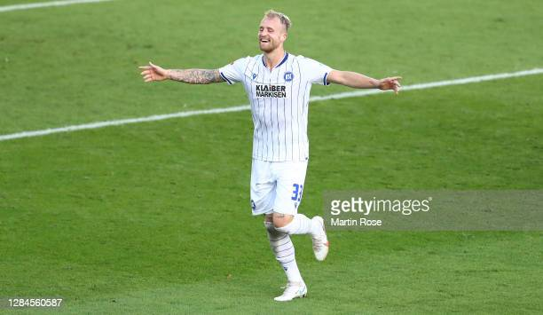 Philipp Hofmann of Karlsruhe celebrates after scoring his teams third goal during the Second Bundesliga match between FC St. Pauli and Karlsruher SC...