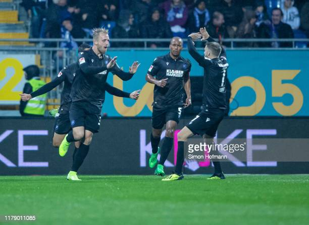 Philipp Hofmann of Karlsruhe celebrates his team's first goal during the Second Bundesliga match between SV Darmstadt 98 and Karlsruher SC at...