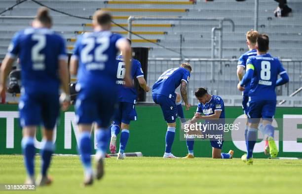 Philipp Hofmann of Karlsruher SC celebrates after scoring their team's third goal with Malik Batmaz of Karlsruher SC during the Second Bundesliga...