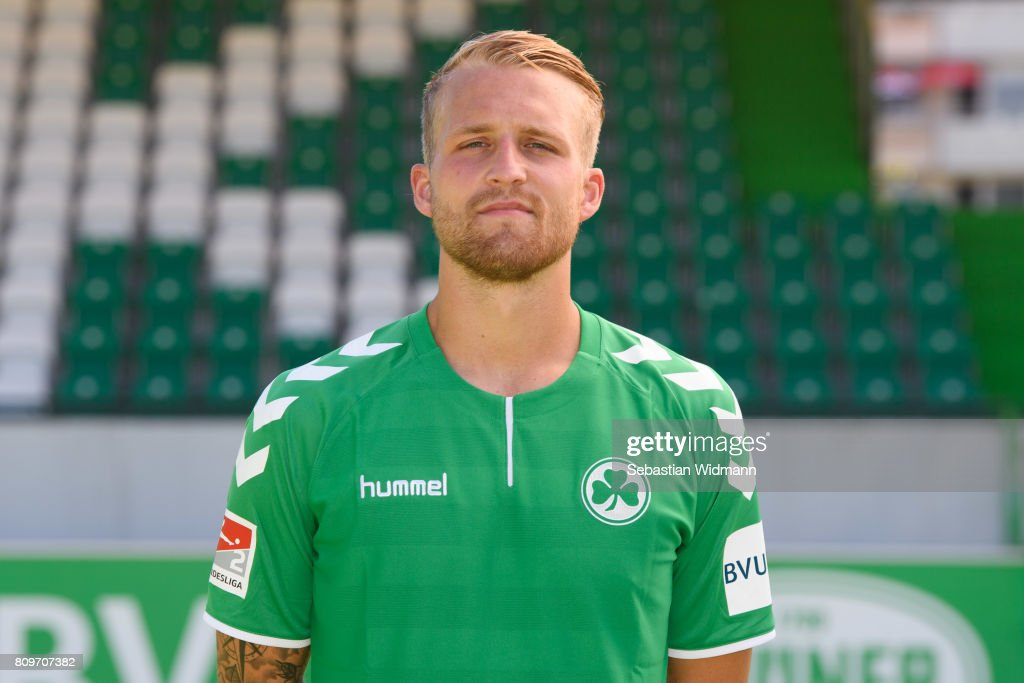 Philipp Hofmann of SpVgg Greuther Fuerth poses during the team presentation at Sportpark Ronhof on July 6, 2017 in Fuerth, Germany.