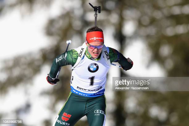 Philipp Horn of Germany competes at the 10 km Men's Sprint during the IBU Biathlon World Cup at Chiemgau Arena on January 17 2019 in Ruhpolding...
