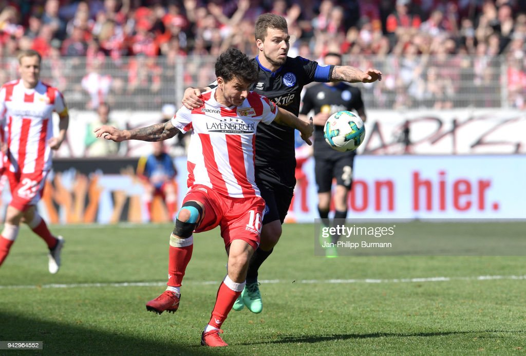 Philipp Hosiner of 1 FC Union Berlin and Kevin Wolze of MSV Duisburg during the 2nd Bundesliga game between Union Berlin and MSV Duisburg at Stadion an der alten Foersterei on April 7, 2018 in Berlin, Germany.