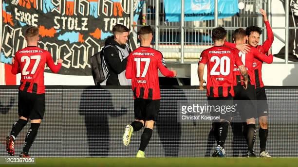 Philipp Hosiner of Chemnitz celebrates the second goal with his team mates during the 3. Liga match between SV Meppen and Chemnitzer FC at...