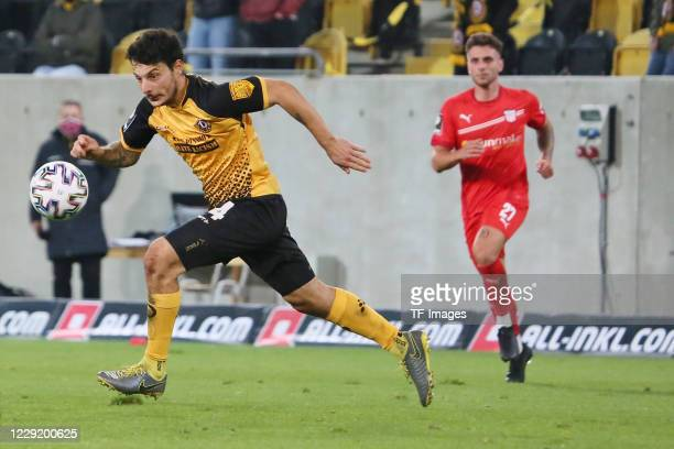 Philipp Hosiner of SG Dynamo Dresden and Yannik Moeker of FSV Zwickau battle for the ball during the 3 Liga match between Dynamo Dresden and FSV...